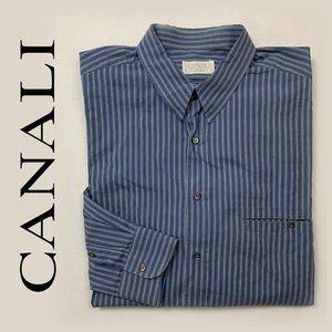 CANALI Blue Striped Button Down Shirt mens size 43
